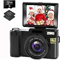 Digital Camera Vlogging Camera with YouTube 30MP Full HD 2.7K Vlog Camera with Flip Screen…