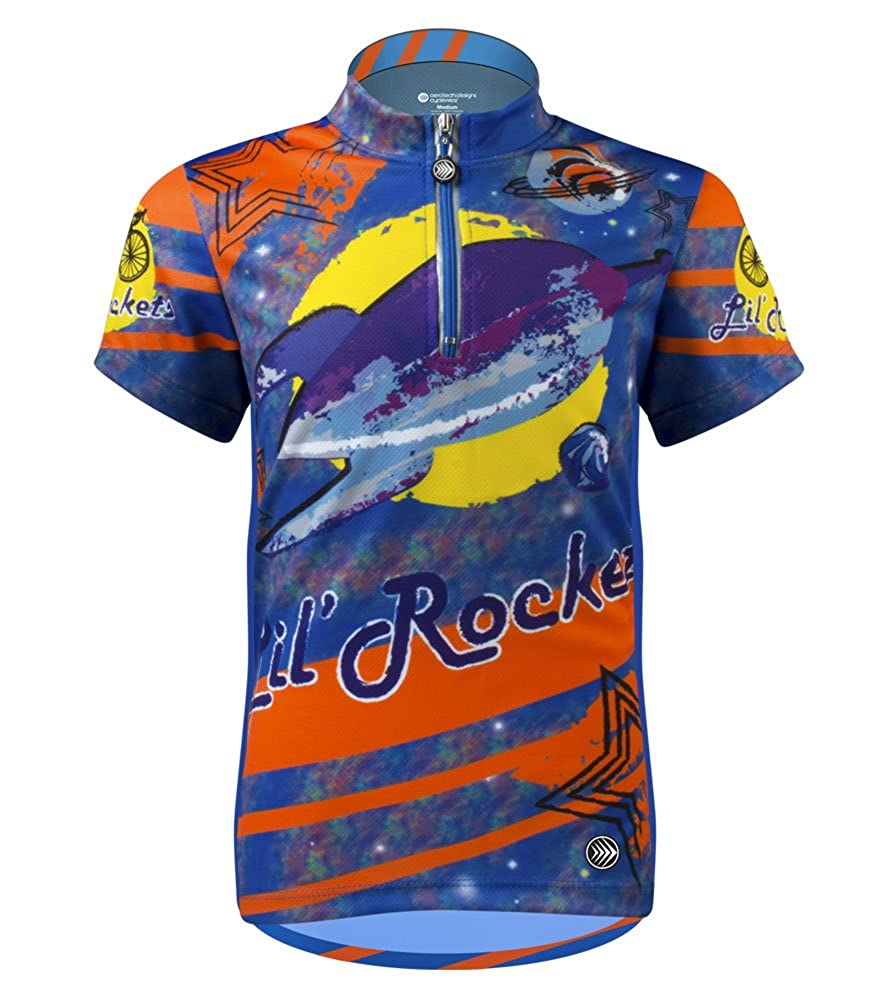 Children 's Lil Rockets Cycling Jersey – Made in USA M オレンジ B01NBW4UF9