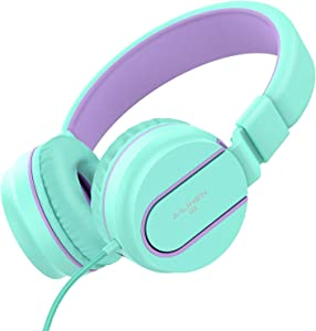 AILIHEN I35 Kid Headphones with Microphone Volume Limited Childrens Girls Boys Teens Lightweight Foldable Portable Wired Headsets for School Airplane Travel Chromebook Cellphones Tablets (Green)