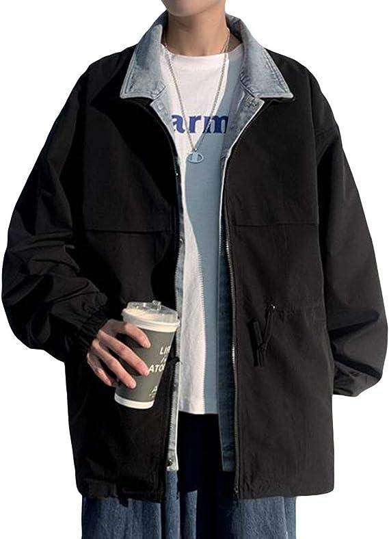 YiTongジャケット メンズ カジュアル デニムコート 2色 レイヤード フェイク 春秋 ブルゾン ジャケット プリント シンプル 原宿系 ワークジャケット