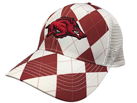 e77d1d25235 Image Unavailable. Image not available for. Color  Top of the World  Arkansas Razorbacks Tow Red White Arguile Get Loud Mesh Adjustable Golf Hat