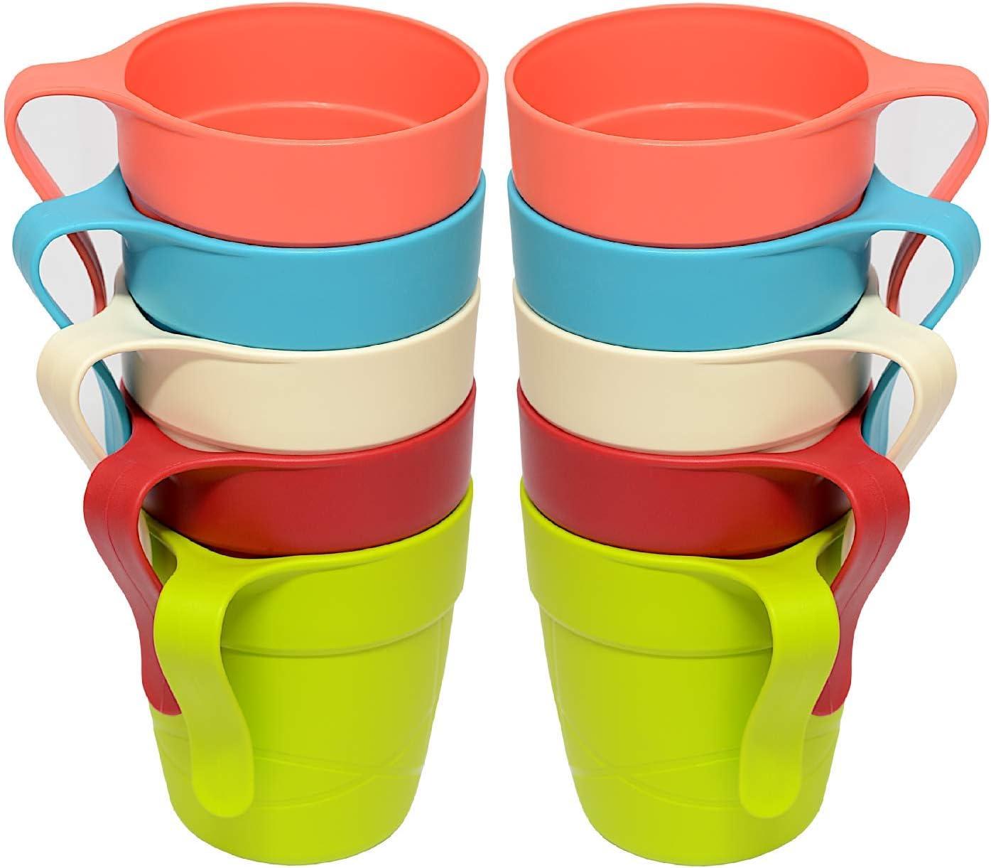 Engelland 10er Pack Kunststoffbecher//Trinkbecher aus Kunststoff Kinderbecher Kaffeebecher Bunte Mischung BPA Frei