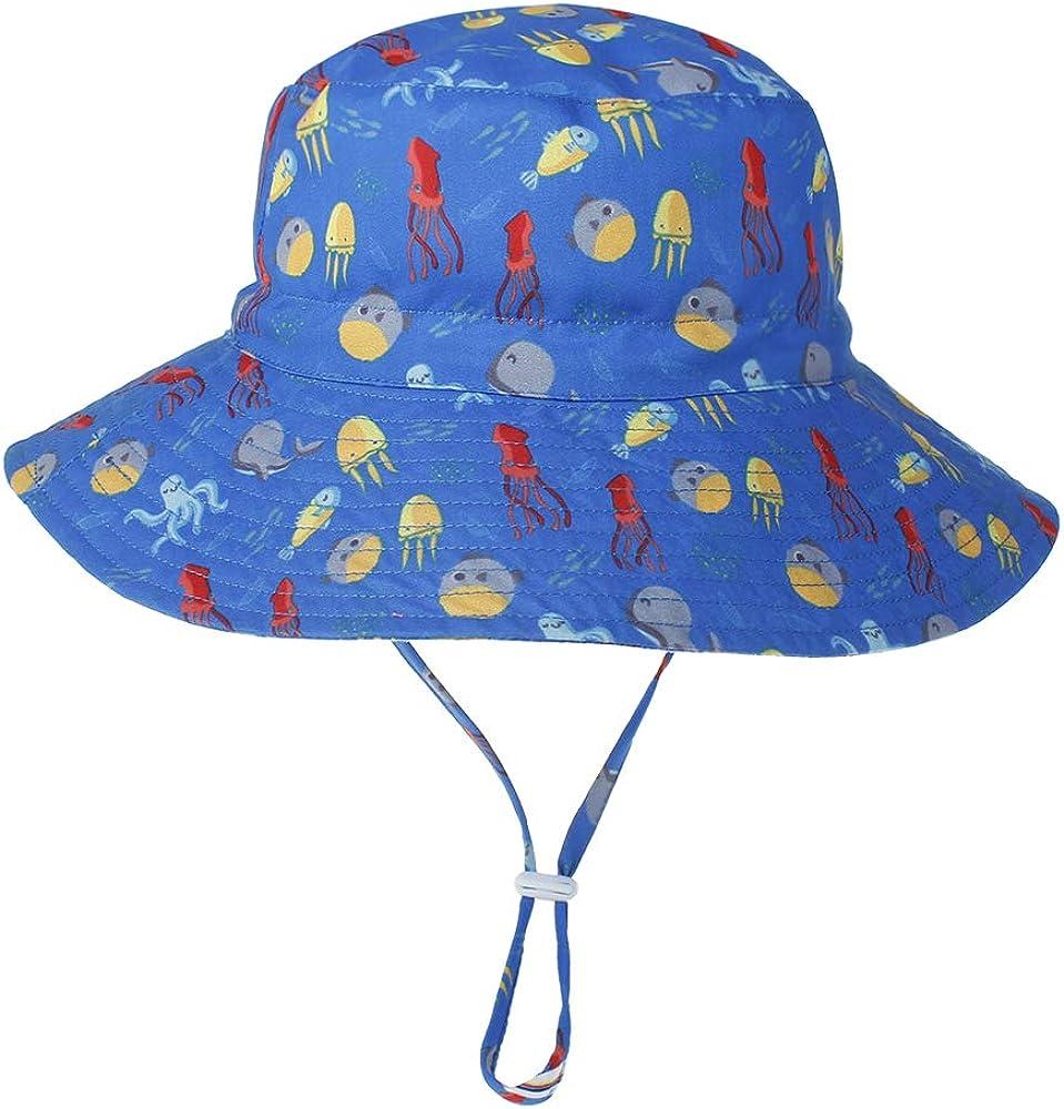 LACOFIA Chapeau de Soleil Bob R/églable pour B/éb/é Bonnet d/ét/é pour Enfant Bord Large pour Piscine//Plage//Natation//Ext/érieure UPF 50+