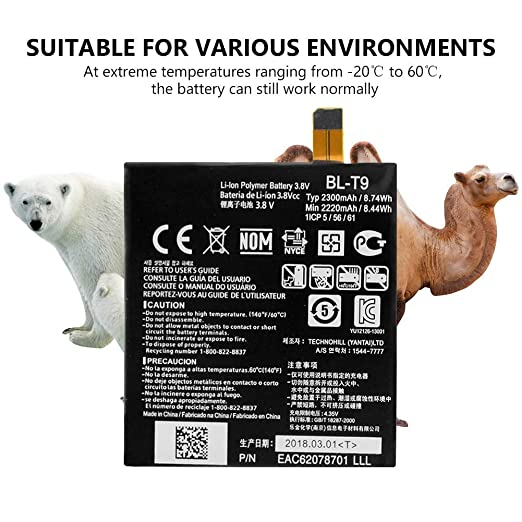 Amazon.com: 2220mAh BL-T9 BL T9 Battery Replacement for LG E980 Nexus 5 D820 D821+Tool Kit: Cell Phones & Accessories