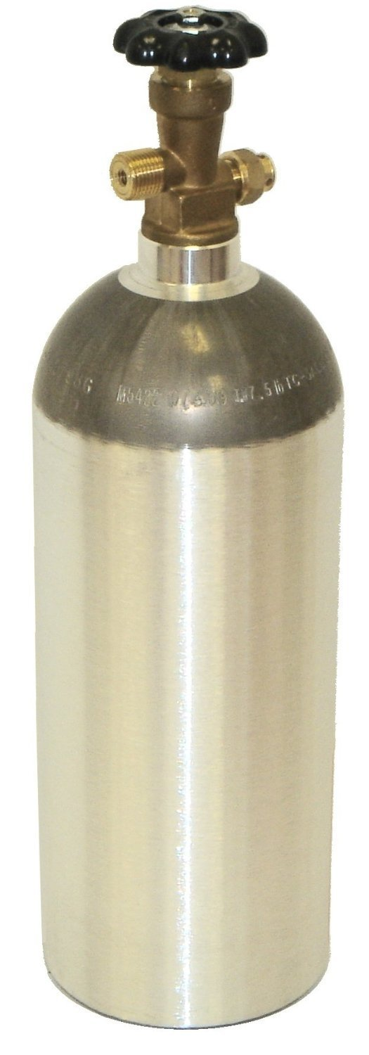 Zebra DNA Luxfer L6X Aluminum CO2 Tanks with CGA320 on/off Valve (5 LB, Brushed) Home Brew Stuff CO2-5LB-LUX