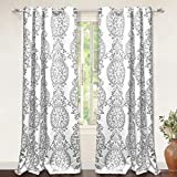 """DriftAway Samantha Thermal/Room Darkening Grommet Unlined Window Curtains, Floral/Damask Medallion pattern, Set of Two Panels, each 52""""x84"""" (gray)"""