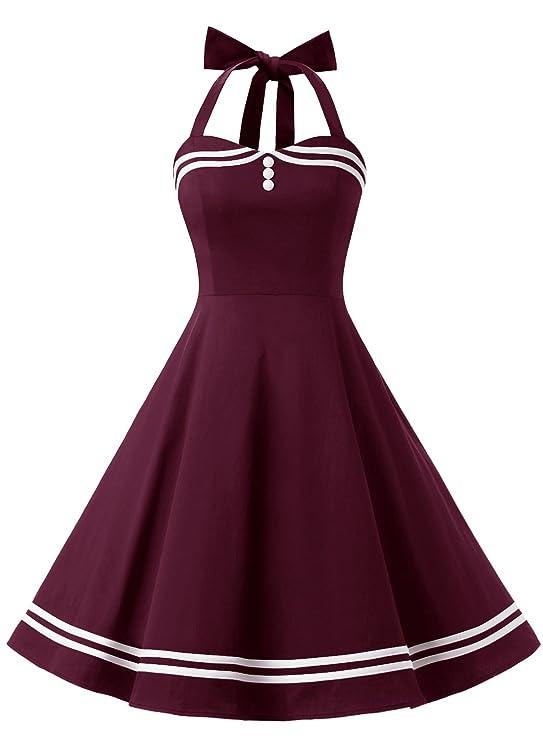 Timormode Rockabilly Kleider Neckholder 50s Vintage Kleid Retro Knielang Kleider Damenkleider Festlich Cocktailkleider