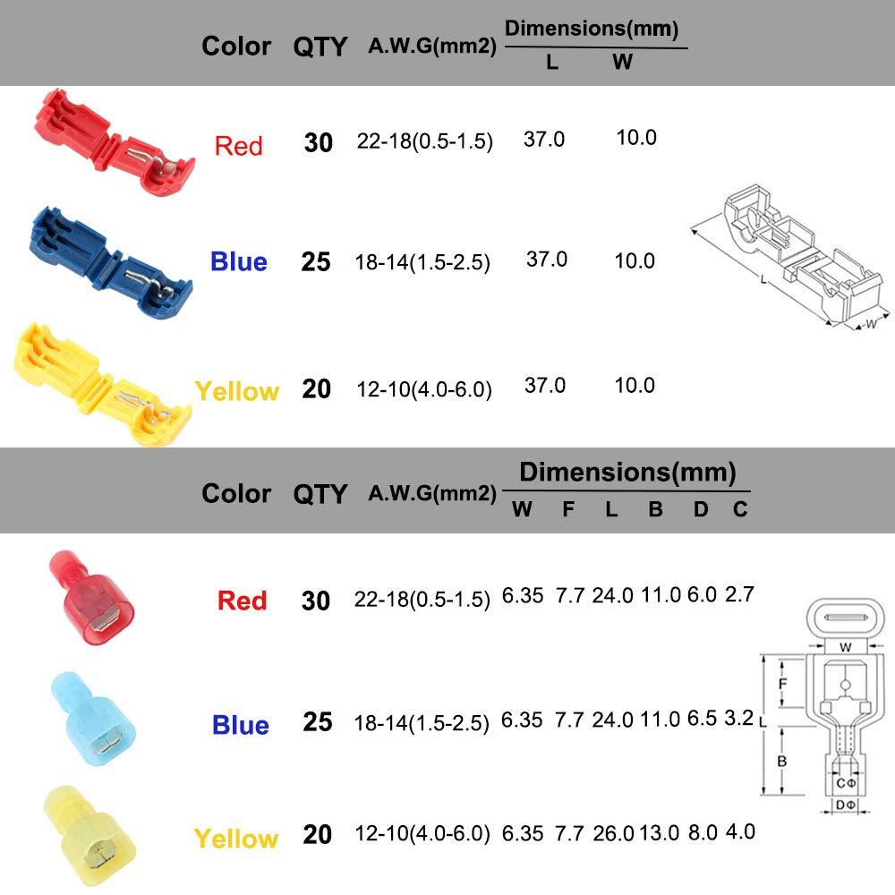 Rouge 40Pcs FULARR 110Pcs T-Tap Rapide Epissure Bornes et Enti/èrement Isol/és M/âles Bornes Kit 55 Paires Premium T-Tap Fil /Électrique Connecteur Set Jaune 30Pcs Bleu 40Pcs