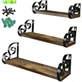 Giftgarden Floating Wall Shelves Set of 3, Rustic Wood Wall Shelf for Bathroom, Bedroom, Kitchen, Living Room