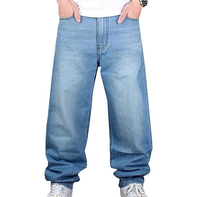 junkai Jeans Hip Hop Uomo Pantaloni Stile Hipster Jeans Rap Denim Urban  Skate Gamba Dritta Allentata per Adolescenti  Amazon.it  Abbigliamento f1fc8e439841
