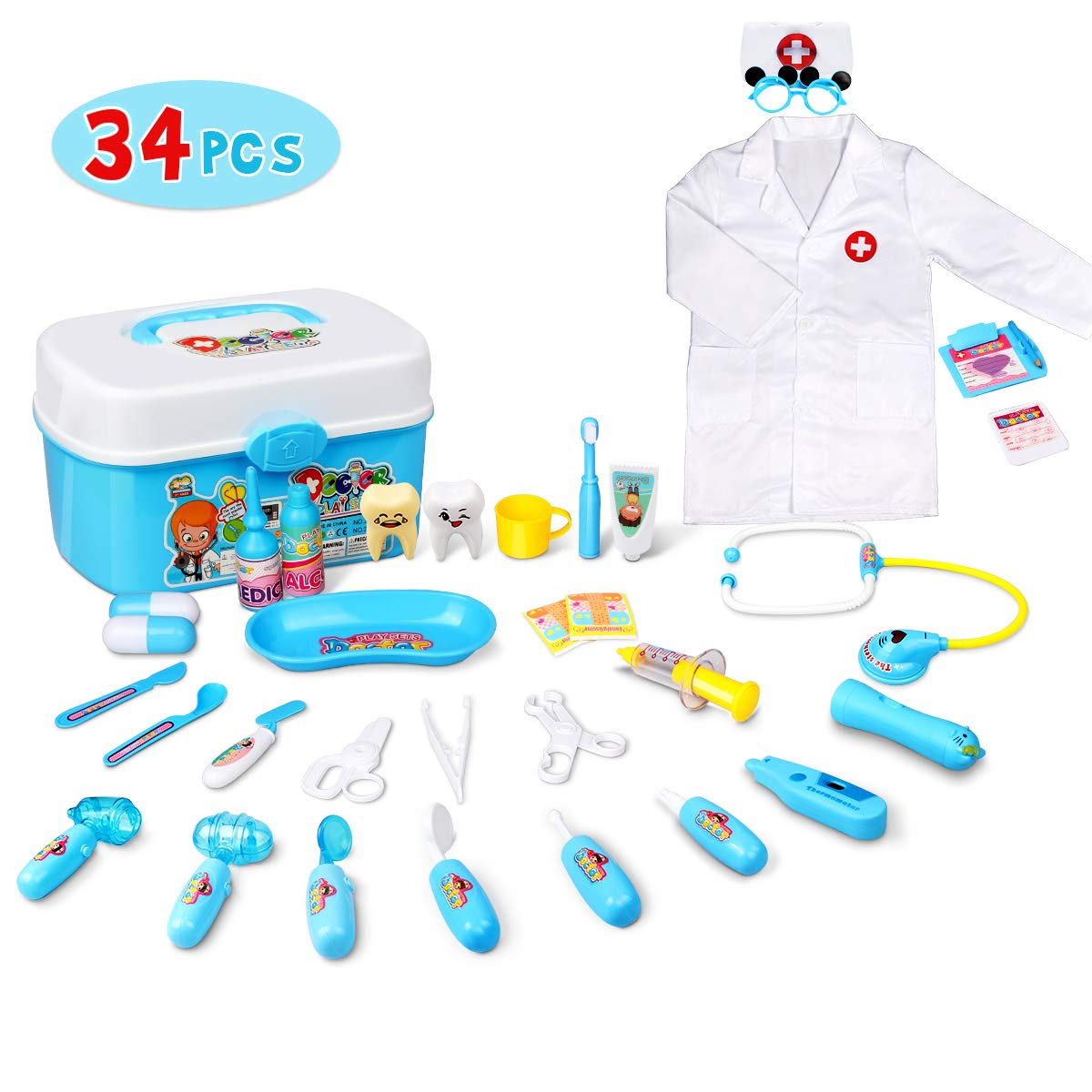 Lydaz Doctor Kit for Kids, 34 Pcs Pretend Play Kids Medical Kit Toys with Roleplay Costume for Boys Girls Toddlers Age 3 Years and Up by Lydaz