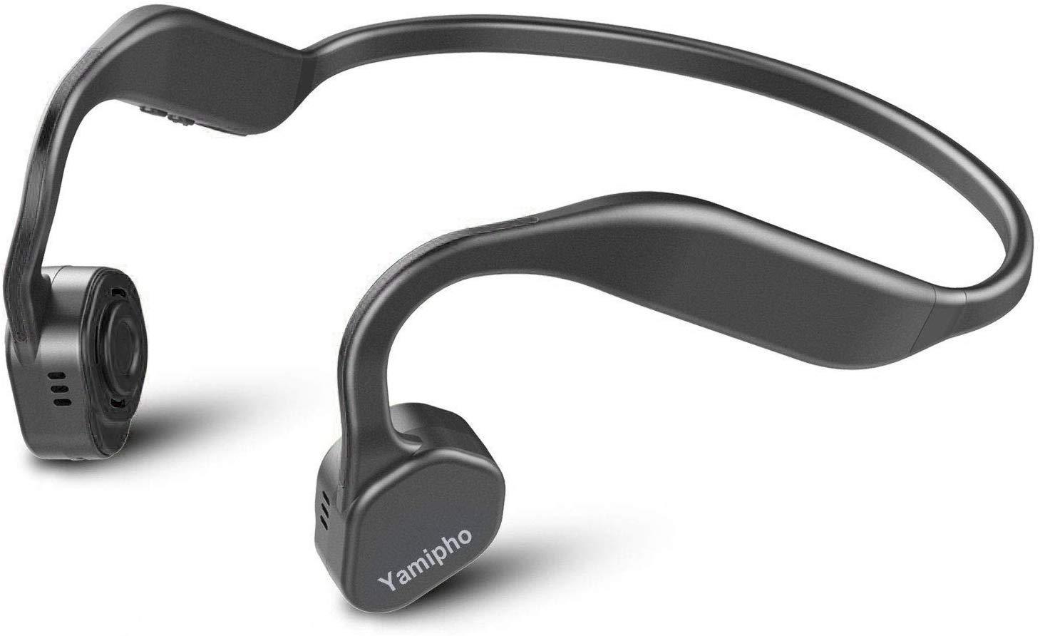 Yamipho Bone Conduction Headphones Bluetooth 5.0 Open-Ear Wireless Sports Headsets w Mic for Jogging Running Driving Cycling Fitness Yoga -Lightweight-1.2 oz Black