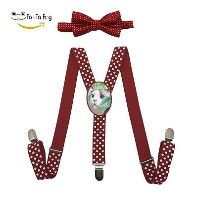 Xiacai White Cat Face Suspender&Bow Tie Set Adjustable Clip-On Y-Suspender Children