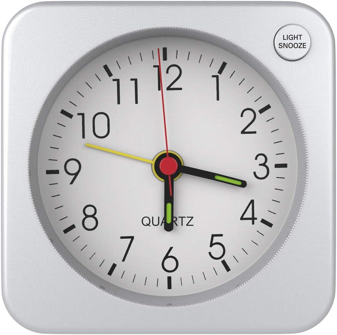 MoKo Mini Reloj Despertador Cuadrado, Simple Despertador Plástico de Alarma con Función de Repetición y Retroiluminación para Oficina, Sala de Estar, Dormitorio [No Incluye la Pila] - Plata