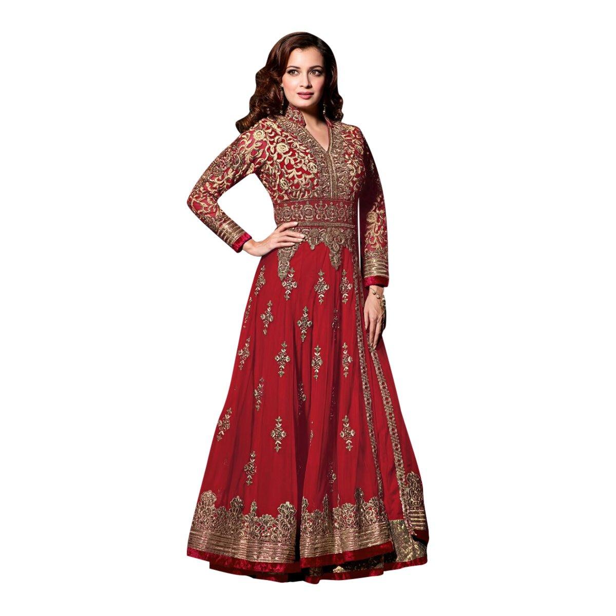 Black Friday Sale velvet Wedding Wear Salwar Suit Lehenga Dress Kaftan Women MuslimEthnic Traditional 623 (Red)
