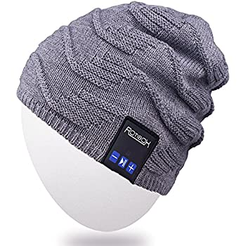 Bluetooth Beanie Hat,Rotibox Winter Stylish Cap with Wireless Bluetooth Headphone Headset Earphone Music Audio Hands-free Phone Call for Outdoor Sports Fitness Exercise Workout Skiing Snowboard - Gray