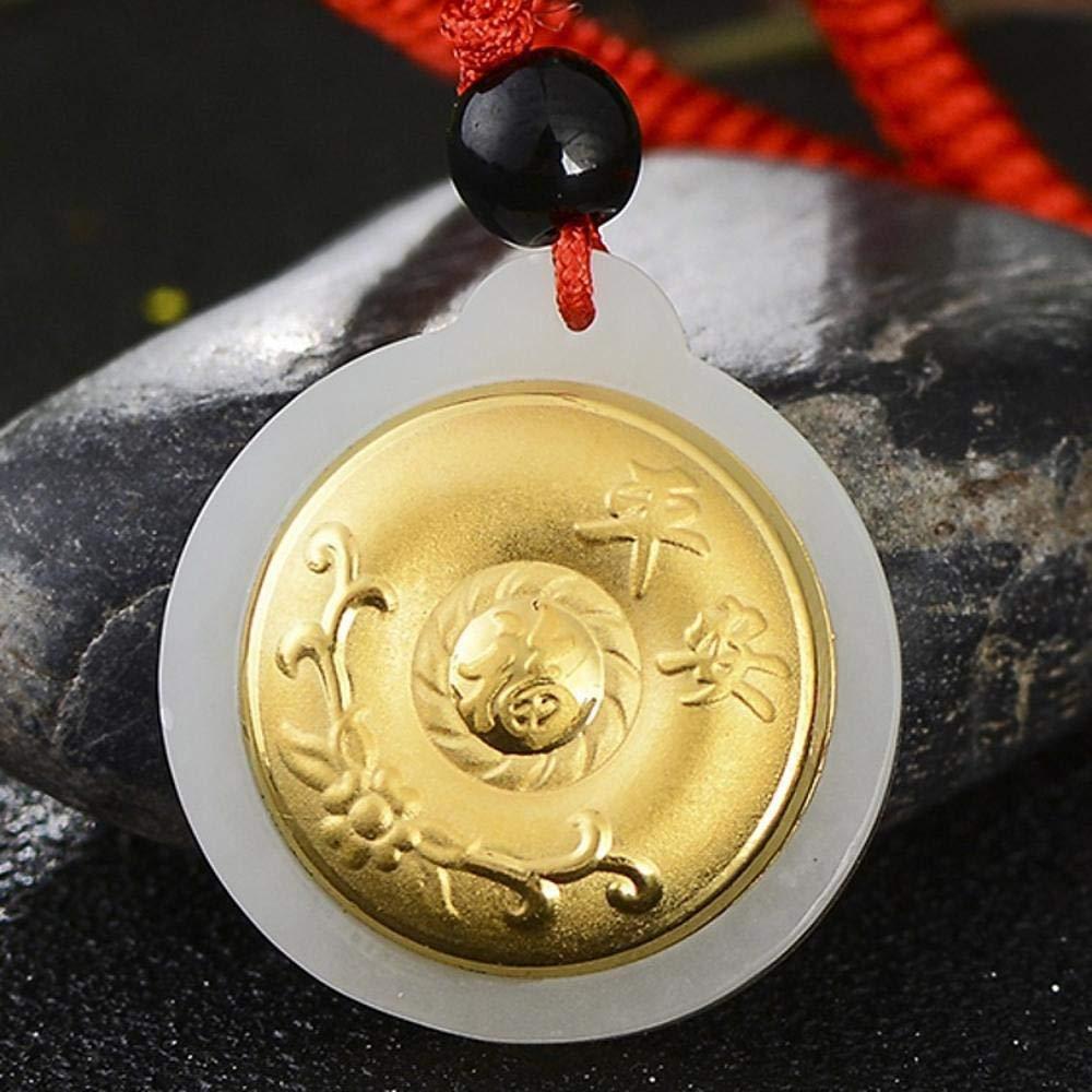 Weiduoliゴールドの象眼細工の翡翠とネフライトゴールドの象眼細工と男性と女性のための天の由布文字安全なバックルギフト   B07LDLD69F