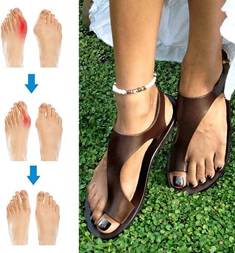 JUZIZHI Sandalias ortopédicas Zapatillas de Playa Zapatillas PU Cuero Pie Verano Cómodo y Transpirable talón Plano, Ideal para Damas Que sufren de juanetes,36: Amazon.es: Deportes y aire libre