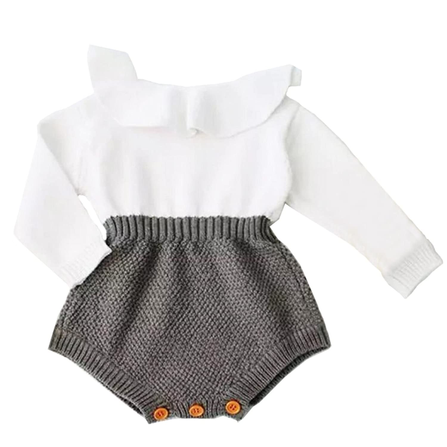 Baby Girls Romper Knitted Ruffle Long Sleeve Jumpsuit Baby Kids Girl Romper  Autumn Winter Casual Clothing 0bb4cdc65