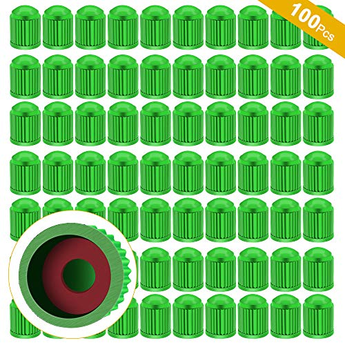 ARTISANMAN 100PCS Tire Valve Dust Caps, Universal Tyre Stem Caps Dustproof Tyre Stem Covers for Cars, Trucks, Motorcycle, Bicycle (Green)