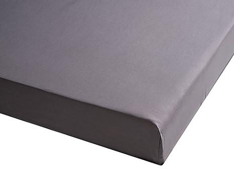 Sancarlos - Sábana bajera , 100% Algodón percal, Color gris, Cama de 180