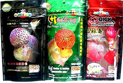 Okiko Fish Food Mix 3 Head Up+ RED Head + Platinum Head /100g X 3