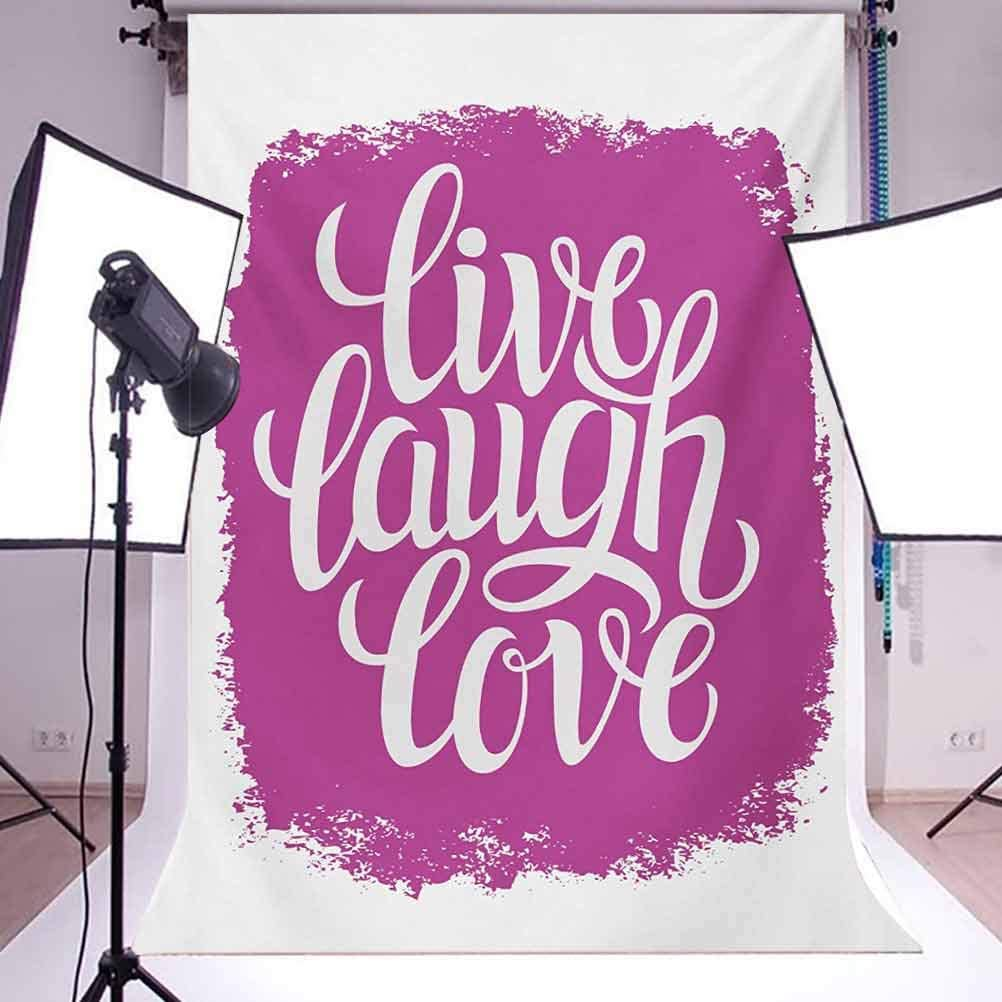 Live Laugh Love 8x10 FT Photo Backdrops,Motivational Lifestyle Typography on Paintbrushes Urban Illustration Background for Child Baby Shower Photo Vinyl Studio Prop Photobooth Photoshoot Fuchsia WHI