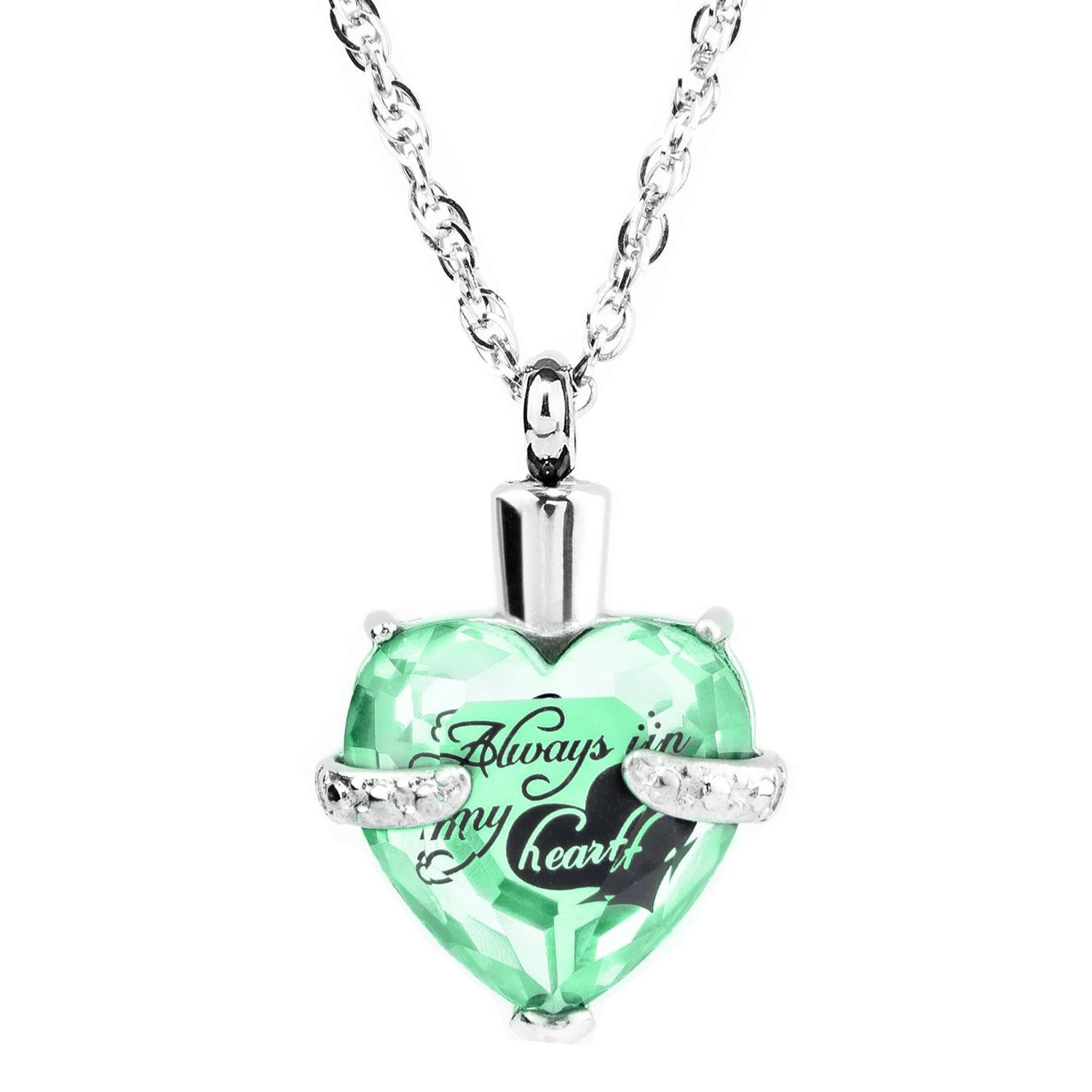 Glass Cremation Jewelry Always in My Heart Birthstone Pendant Urn Necklace Ashes Holder Keepsake by IMEIM (Aug(Peridot))