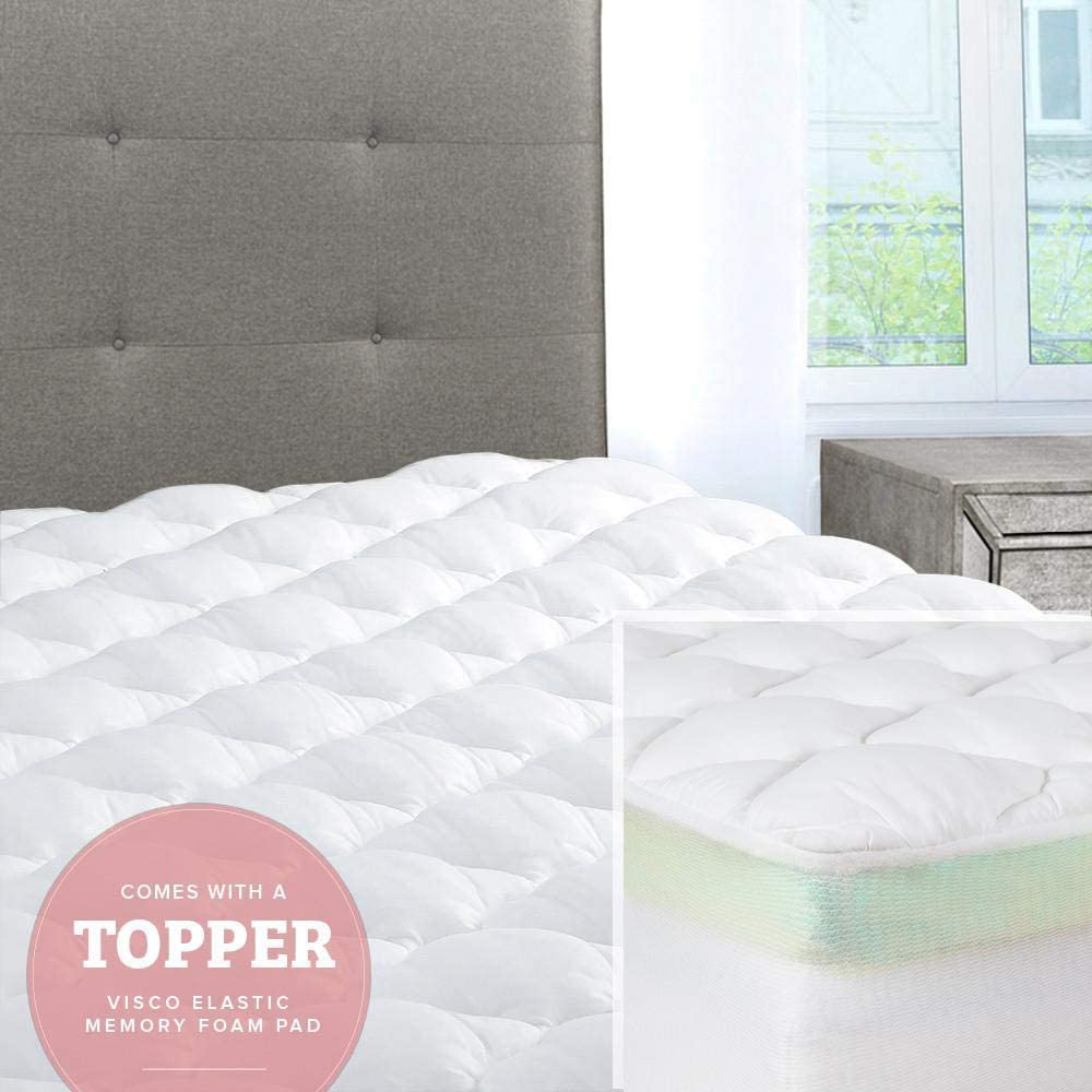 ExceptionalSheets Mattress Pad with Fitted Skirt - Double Thick Extra Plush Mattress Topper - 2 Pieces | Hypoallergenic Mattress Pads | Luxury Hotel ...