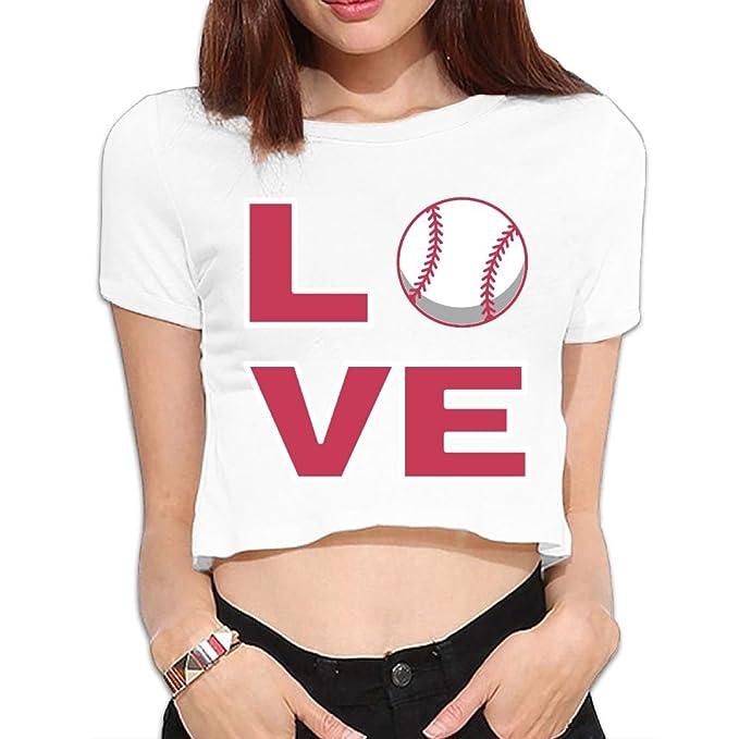 34267e6cfeac79 Amazon.com  SARA NELL Women s Juniors Love Baseball Crop Top T-Shirt Tees  White  Clothing