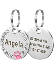 Didog Stainless Steel Custom Engraved Pet ID Tags with Pretty Paw Print Fits for Small Medium Large Dogs and Kittens,Pink