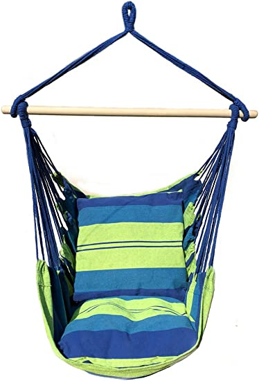 Ankwell Hammock Chair Hanging Rope Swing Chair – 2 Seat Cushions Included – Quality Cotton Weave for Indoor or Outdoor Spaces Green-Blue