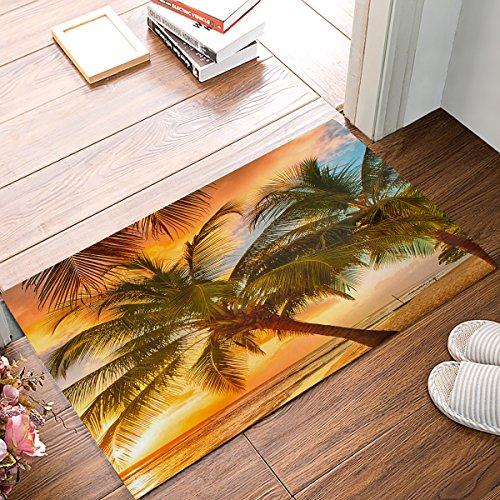 ALAGO Tropical Beach Palm Trees Sunrise Doormats Entrance Front Door Rug Outdoors/Indoor/Bathroom/Kitchen/Bedroom/Entryway Floor MatsNon-Slip Rubber,Low-Profile
