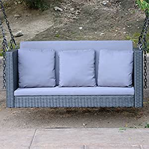 "Black - 57.5"" Patio Porch Swing Chair Resin Wicker Tree Ceiling Hanger Hanging W/Chains"