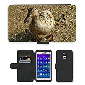 Hot Style Cell Phone Card Slot PU Leather Wallet Case // M00111406 Duck Ducks Water Bird Bird Fly // Samsung Galaxy Note 4 IV