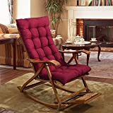 YEARLY Rocking chair cushions, Lounge Chair cushions Thicken Lengthen Folding Wicker Chair pads Patio Furniture Overstuffed Bench cushion-Red wine 48x125cm(19x49inch)