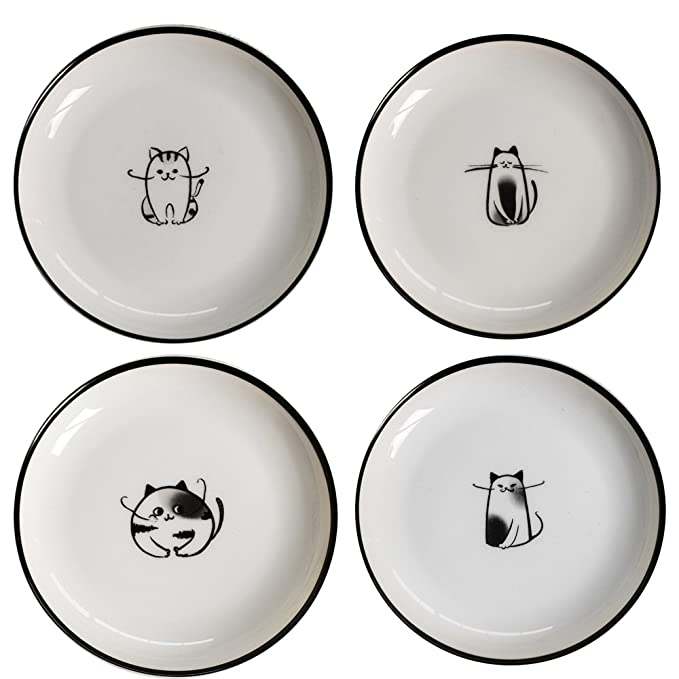 Amazon.com: socosy Cute Cartoon Cat Salsa Plato de cerámica ...