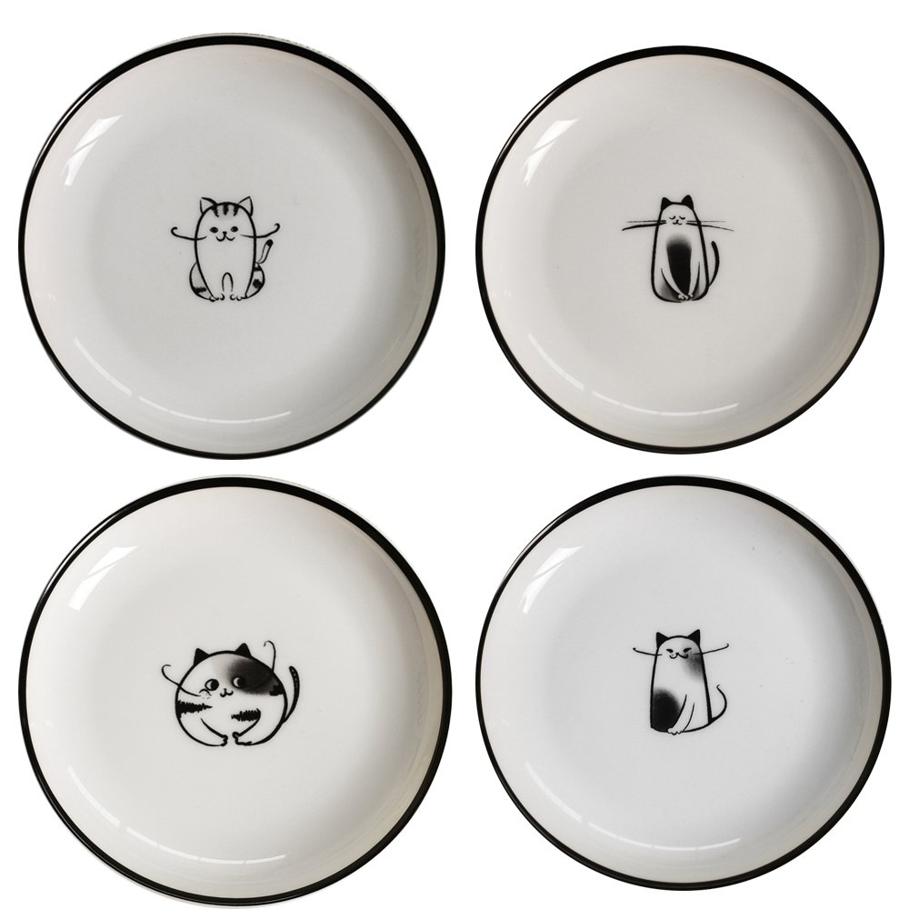 SOCOSY Cute Cartoon Cat Ceramic Sauce Dish Seasoning Dish Sushi Soy Dipping Bowl Appetizer Plates Serving Dish for Kitchen 5''(Set of 4)