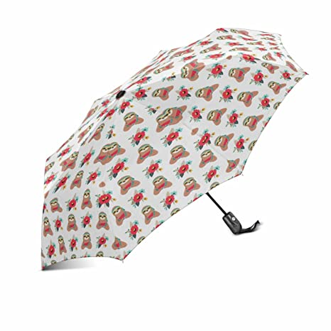 73cfa585d9 InterestPrint Funny Hippie Sloth with Flowers Eating Watermelon Windproof  Automatic Open and Close Folding Umbrella, Unbreakable Portable Outdoor ...