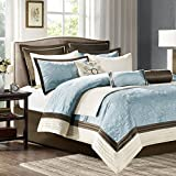 Blue and Brown Comforter Set Madison Park Juliana King Size Bed Comforter Set Bed in A Bag - Blue, Quilted Floral – 9 Pieces Bedding Sets – Faux Silk Bedroom Comforters