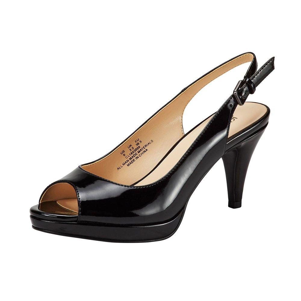 JENN ARDOR Women's Slingback Pumps Stiletto High Heels Ladies Peep Toe Patent Leather Sandals Dress Party Platform Shoes Black 8.5 (9.9in)