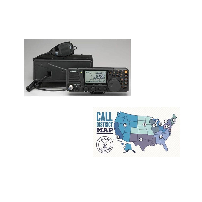 Alinco HF Base radio, all-mode, 100W and Ham Guides TM Pocket Reference Card Bundle