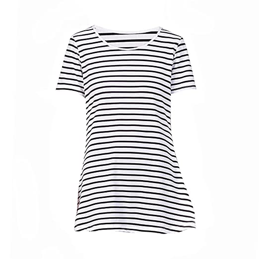 31ea0a77b Image Unavailable. Image not available for. Color: Women O-Neck Short  Sleeve Black White Striped ...