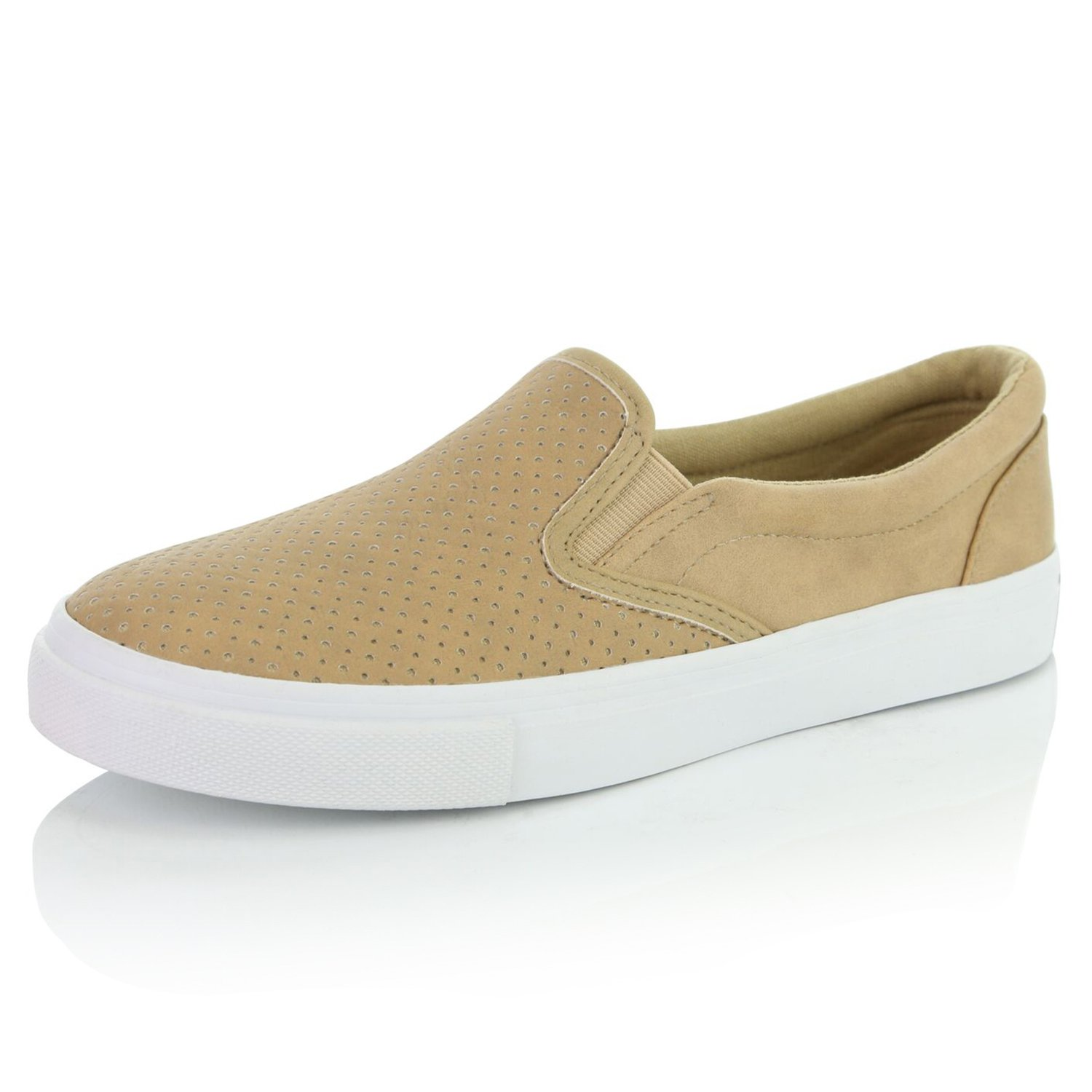 DailyShoes Women's Fashion Casual Slip-On Loafers Sneakers Shoes, Camel PU, 8 B(M) US