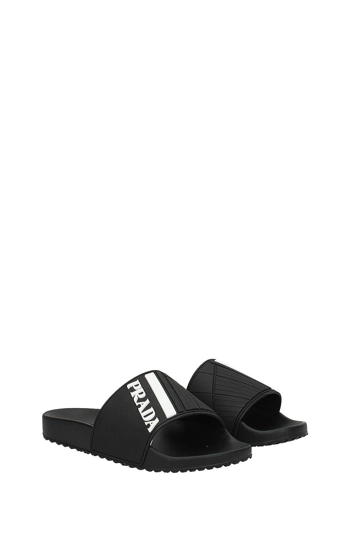 c7dca6e9ef42 Prada Black Logo Print Slider Sandals (6 UK): Amazon.co.uk: Shoes & Bags