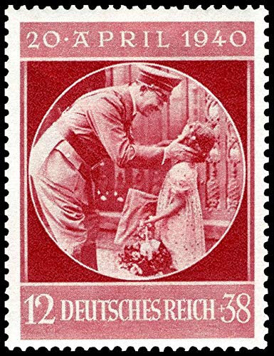 1940 DE HILTER EMBRACES LITTLE ARYAN GIRL on HIS 50TH BIRTHDAY! RARE WW2 NAZI STAMP MNH! 50 PFENNIG (12 + 38) Flawless Mint Never - Coin Mnh Stamp
