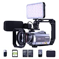 4K 30fps Video Camera Camcorder ORDRO Ultra HD Vlog Camera IR Night Vision Recorder WiFi Digital Camcorders with Mic Led Light Wide-Angle Lens Handheld Holder Carrying Case 2 Batteries 32G SD Card