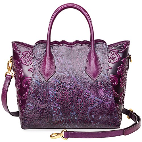 PIJUSHI Womens Genuine Leather Vintage Satchel Bag Top Handle Handbags Floral 33108(One Size, Violet) by PIJUSHI