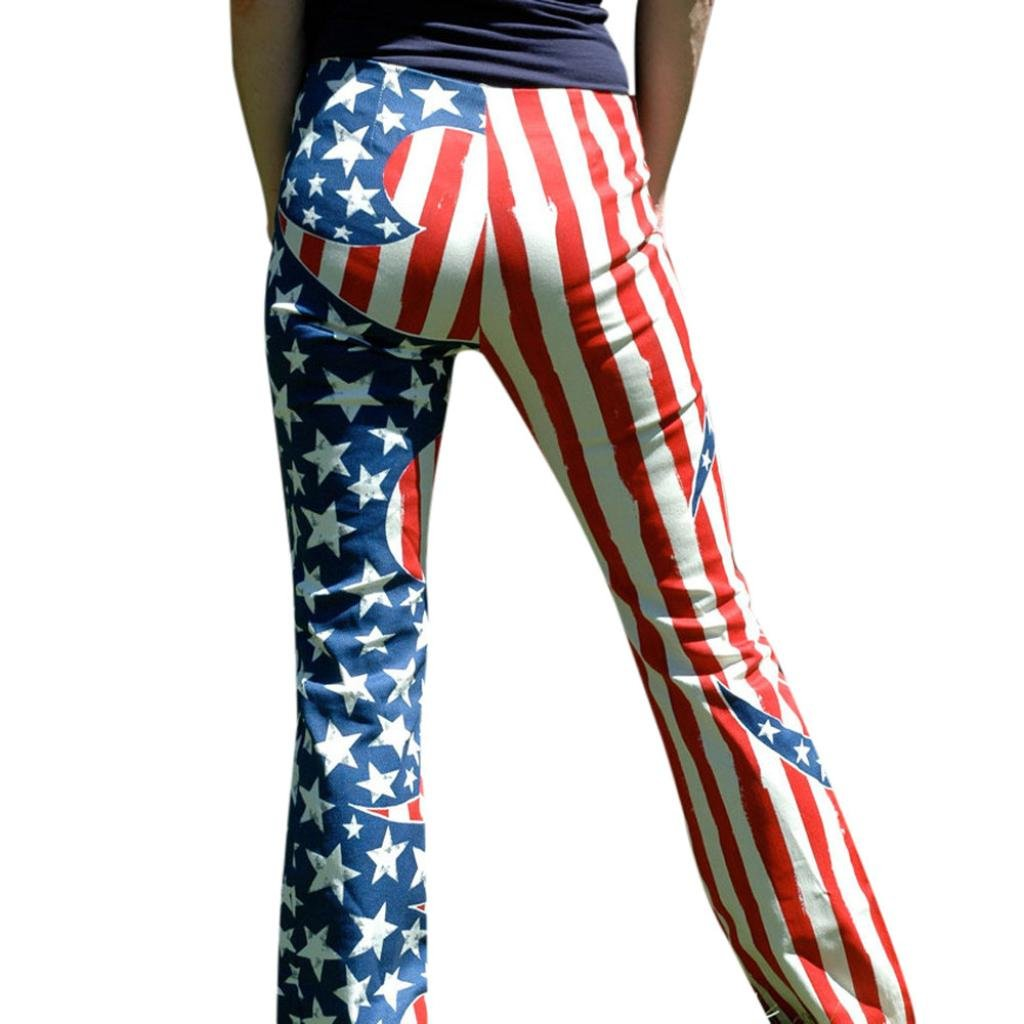 July 4th Patriotic American Flag Women Drawstring Pants Wide Leg Leggings Yoga Sports Casual (M, Multicolor)