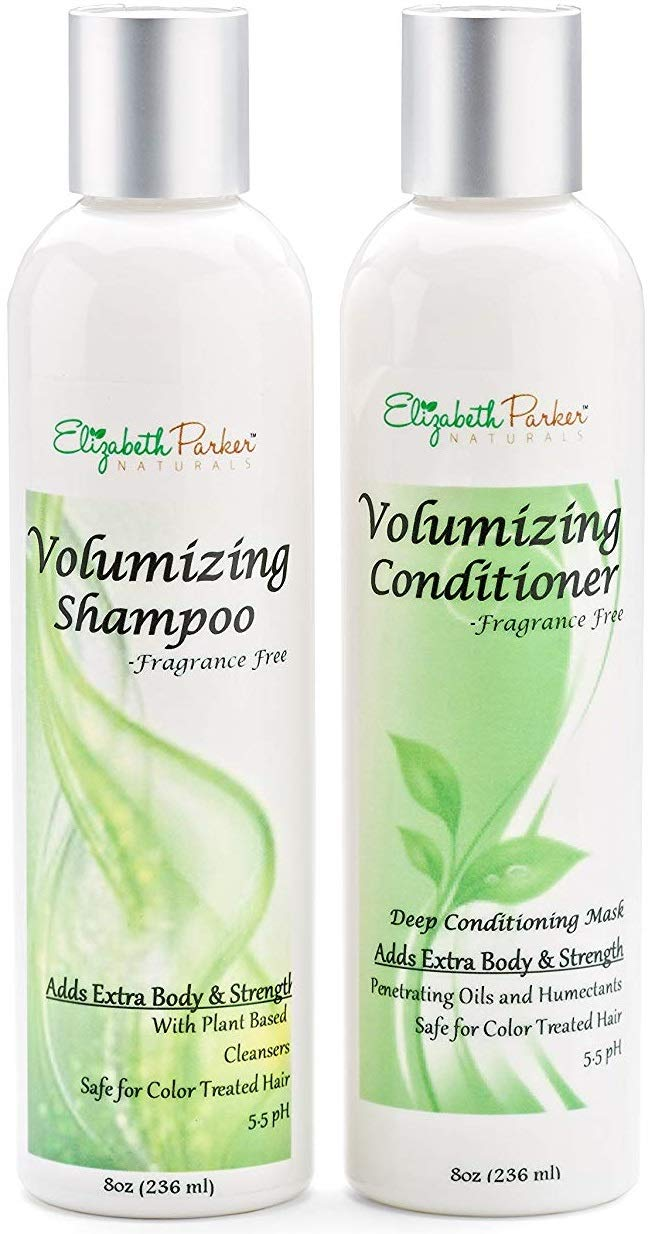 Volumizing Shampoo & Conditioner Set with Manuka Honey & Aloe Vera - Conditioner and Shampoo for Thinning Hair & Hair Loss - Organic & Sulfate Free Shampoo & Conditioner for Color Treated Hair (8 oz) by Elizabeth Parker Naturals